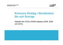 Antal företag som drivs av män respektive kvinnor 2006-2010 Stockholm