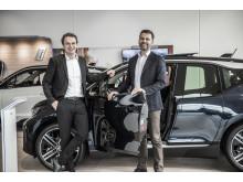 Stig Sæveland, administrerende direktør Hedin Automotive, Hallvard Vikeså, administrerende direktør Bavaria Norge