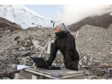 Francesca Pellicciotti on a debris covered glacier
