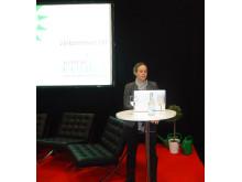 Maria Wetterstrand talar vid invigningen av KlimatCenter
