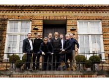 Fra venstre Jens August Wille, Stephen Henriksen, Peter Langdal, Thomas Storm, Xenia Lach-Nielsen, Finn Schumacker, Lars Simonsen, Torben Kirkegaard
