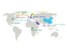 Karta över Arlas investeringar 2015