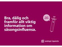 Vykort från Landstinget i Uppsala län om vaccination mot säsongsinfluensa - framsida