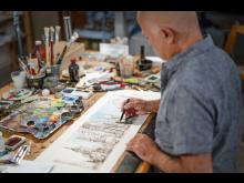 Yadegar Asisi - Skizze für das Panorama New York 9/11