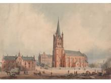 Bygninger på Grønland, 1864, akvarell, Wilhelm von Hanno
