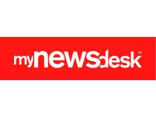 Mynewsdesk logo - red reverse out