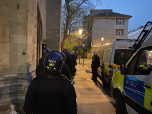 Officers carrying out one of the raids