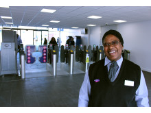 Station assistant Rachel James in the new concourse