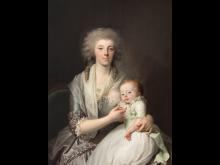 Jens Juel - Portræt af grevinde Sophie Magdalena Raben med søn,1785 - Privateje