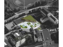 Flygbild nya lokaler för utbildning och personalrestaurang Akademiska