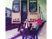 Retired driver Ian Twells, right, and colleague Reggie Gant with one of the old Moorgate trains in 1979