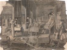 Trefoldighetskirkens steinhoggerverksted, 1852, tegning, blyant på papir, Wilhelm von Hanno.