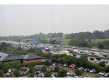 Summer traffic in heavy rain on the M5/M4 interchange near Bristol