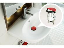 PUM bottenventil i tvättställ - detalj