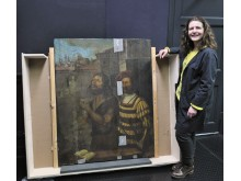 Nicky Grimaldi pictured with The Bowes Museum panel painting 2 (photo credit Northumbria University)