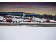 Tre Norwegian-fly i Oslo
