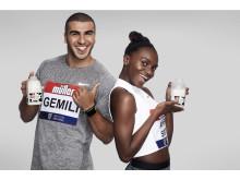 Müller brand ambassadors Adam Gemili and Dina Asher-Smith