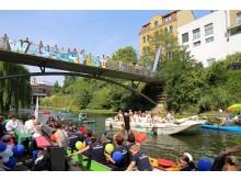 Leipziger Wasserfest: Bootsparade auf dem Karl-Heine-Kanal