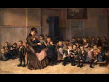 Emilie Mundt - Fra asylet i Istedgade. Interiør med asylmutter og børn, 1886. Københavns Museum