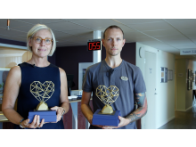 Charlotte Ericson och Marcus Jangsjö på Vårdcentralen Bohuslinden tilldelades Guldhjärtat 2020.