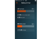 Koenigsegg One:1 app Battery & Fuel