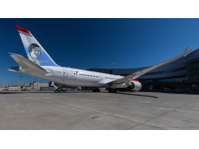 The Amy Johnson tail fin on the record-breaking Boeing 787-9 Dreamliner