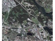 Ett exempel på hur det gröna Stockholm minskar. Här ser vi området runt Igelbäcken naturreservat i Stockholm, Sundbyberg och Solna kommun år 2003.