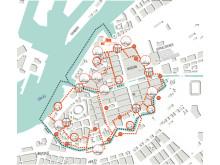 Karta över fästningsstaden Göteborg med intressanta lämningar.