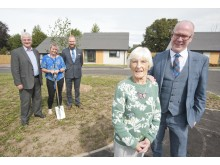Executive Chairman of Springfield Properties, Sandy Adam; Moray Council's Chair of Communities Committee, Cllr Louise Laing; Springfield Group Partnerships Managing Director, Tom Leggeat; Lily Hendry and Kevin Stewart MSP