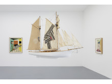 """Jens Fänge, """"Hinterland"""", Boat model, fabric and embroidery. Installation view """"The Hours Before"""" Galerie Perrotin, Paris"""