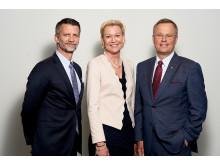 Urban Englund, ordförande, Carina Olson, CFO, och Erik Strand, vd och koncernchef.