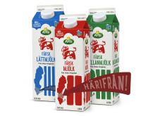 Färsk mjölk från Arlas mellersta region.
