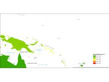 Tsunami risk map percentage Pacific