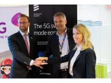 Digitaliseringsminister Nicolai Astrup, adm. dir. i Telia Norge Abraham Foss og Head of Northern & Central Europe Jenny Lindqvist i Ericsson