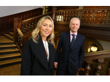Juliet de Baubigny with Vice Chancellor and Chief Executive Andrew Wathey