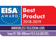 EISA Award Logo Sony FE 100-400mm F4.5-5.6 GM OSS