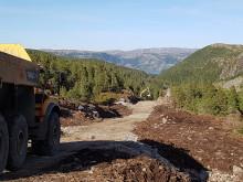 Bygging av adkomstvei til Roan vindpark