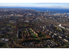 Flygvy över Sege Park i Malmö