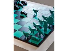 Detaljbild schackspel utställning
