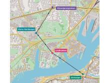 Karta över Göteborgs Stadslinbanas sträckning och stationer