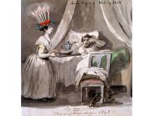 Lucedagen på Koberg 1848 är den äldsta kända bilden av en lucia. Tuschteckning av Fritz von Dardel. Foto Anne-Marie Eriksson, Nordiska museet