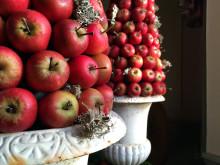 Juldekoration med äpplen på Katrinetorp Landeri