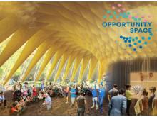 """Illustration av """"Folkets House"""", som blir mötesplats för Opportunity Space Festival i Enskifteshagen den 22 augusti-2 september."""