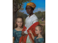 Wilhelm Marstrand, 'Portræt af Otto Marstrands to døtre og deres vestindiske barnepige, Justina Antoine, i Frederiksberg Have', 1857. Statens Museum for Kunst