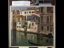 Wilhelm Marstrand, 'Parti fra Canal Grande i Venedig. Palazzo Falier', ca. 1854. Den Hirschsprungske Samling