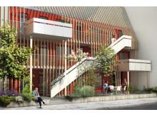 Illustration av Byggvestas kompisboende i kvarteret Spårvägen i Sorgenfri