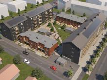 Översiktsillustration av de nya radhusen & lägenheterna, BoKlok Diamanten, Bäckby, Västerås.
