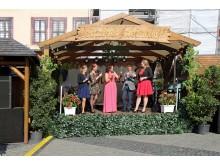 Leipziger Weinfest - Eröffnung mit den sächsischen Hoheiten, Moderatorin Ute Schlossarek und Marktamtleiter Dr. Walter Ebert
