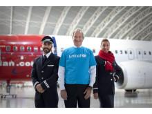 Styrmann Chadi Hanna, administrerende direktør Bjørn Kjos og kabinsjef Rania Hido reiser til Jordan sammen med UNICEF.