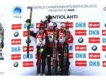 Brødrene Bø på pallen etter sprinten, VM Kontiolahti 2015